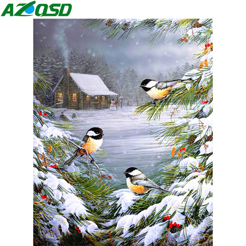 AZQSD Diamond Painting Winter Birds Cross Stitch Wall Art Needlework Picture Of Rhinestones Gift Handmade Home Decoration Pakistan
