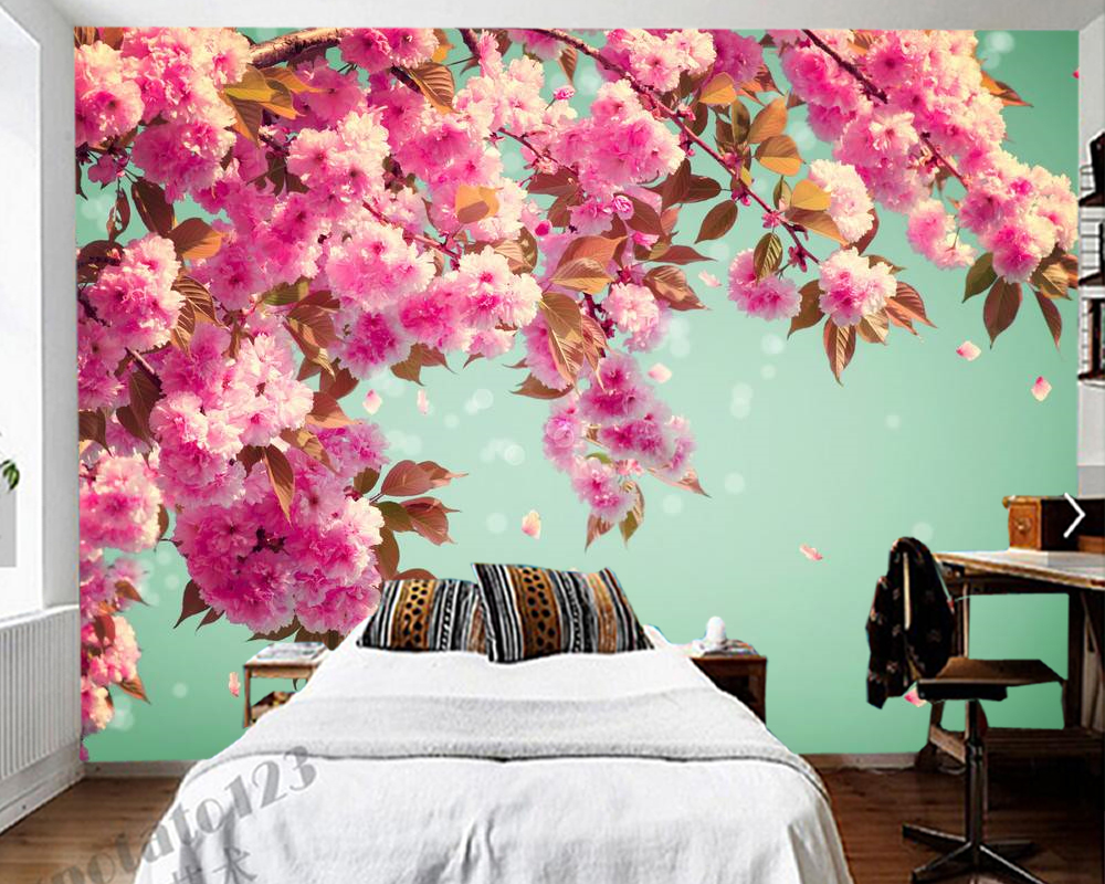 Cherry Blossom Flower Background Romantic 3d Wallpaper Papel De Parede Living Room Tv Wall Bedroom Wall Papers Home Decor Mural Wallpapers Aliexpress