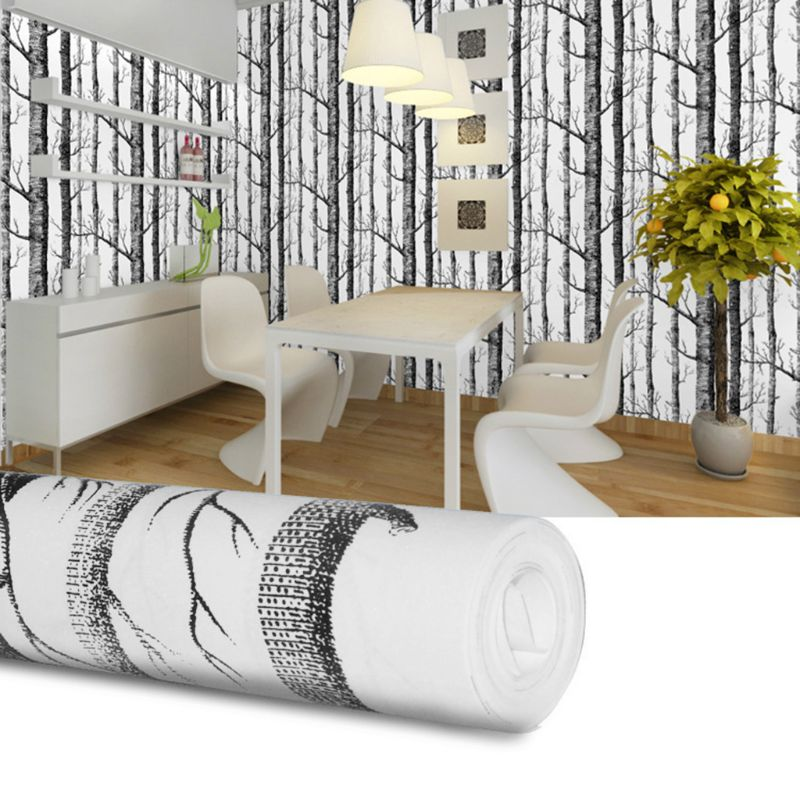 Black Black White Birch Tree Wallpaper Modern Design Roll Pearly Rustic Forest Woods Bedroom Living Room Wall Paper Home 10 X
