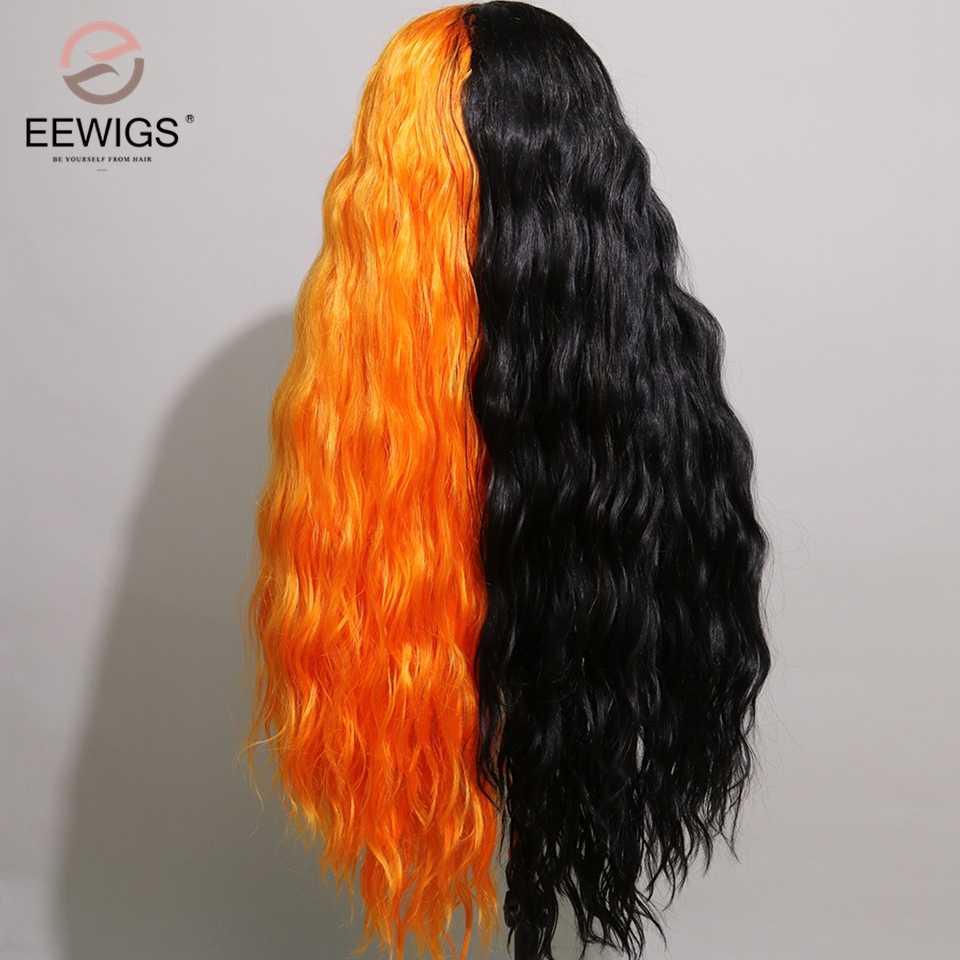 EEWIGS Hitze Beständig Synthetische Spitze Vorne Perücke 13x4 Halbe Orange Halb Schwarz Cosplay Perücke African American Perücken Für schwarz Frauen