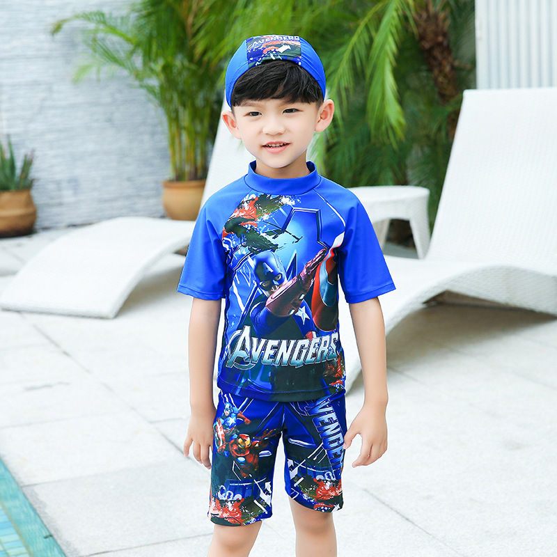 BOY'S Printed Bathing Suit America Captain Split Type With Swim Cap Sports Fashion Child Hot Springs Swimwear Small Children Bea
