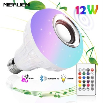 цена на Smart E27 RGB Wireless Bluetooth Speaker LED Bulb Light 12W Music Playing Dimmable Wireless Led Lamp with 24 Keys Remote Control