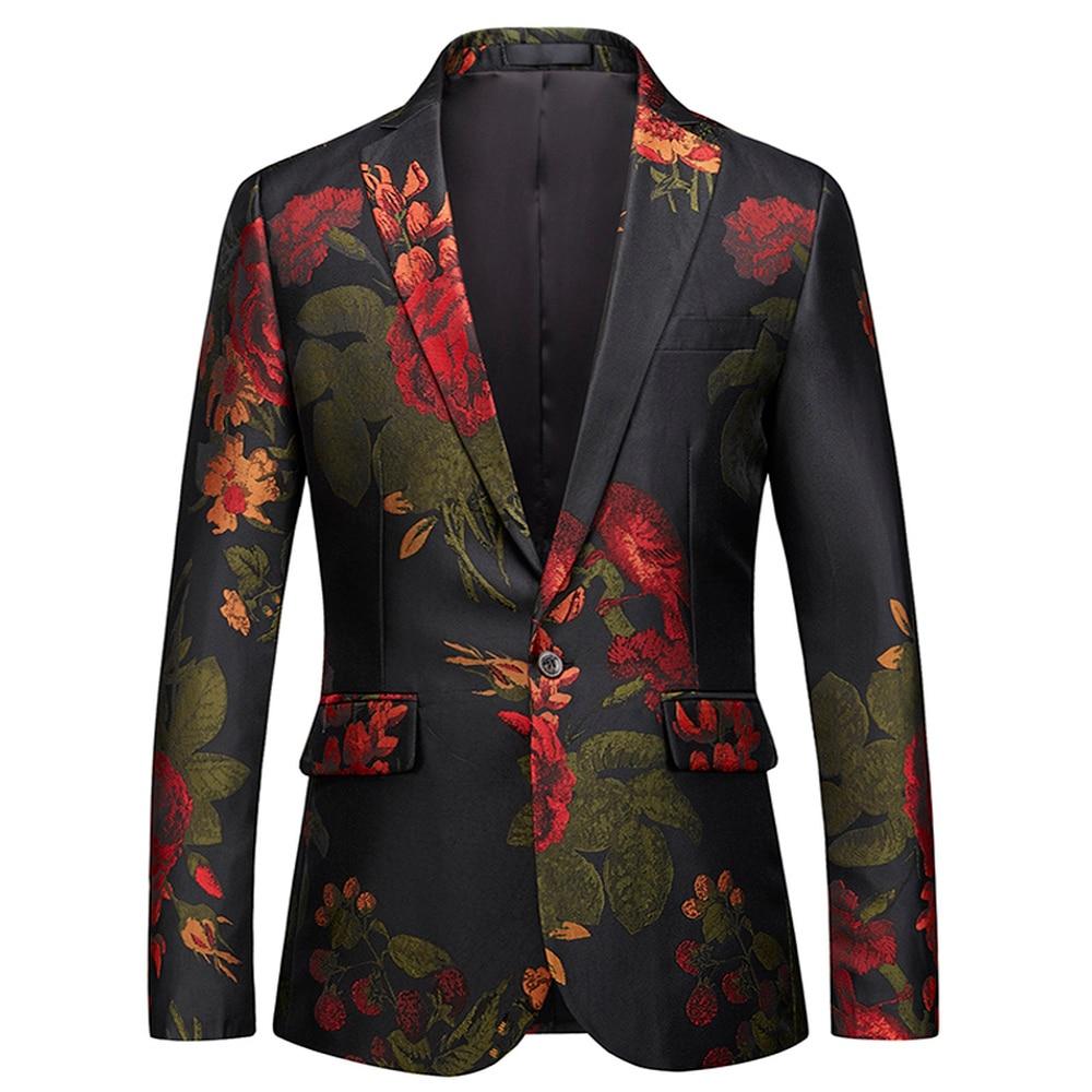 Floral Printed Men's Suit Jacket Wedding Party Dress Blazer Slim Fit Blazers Business Casual Man Suit Blazers Big Szie M-6XL