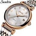 2020 Роскошные Брендовые Часы SUNKTA из розового золота для женщин  кварцевые наручные часы  модные женские часы-браслет  Relogio Feminino