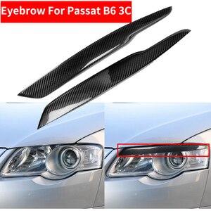 Стайлинг автомобиля, 2 шт., настоящие Налобные веки из углеродного волокна для фар и бровей, для Passat B6 3C, наклейка, накладка, наклейка, аксессу...