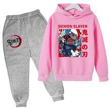 3-14 lat ponadgabarytowych duch ostrze bluzy bluza chłopiec/dziewczyna Demon Slayer bluza z kapturem dzieci kreatywne Polluvers Casual pełny kostium