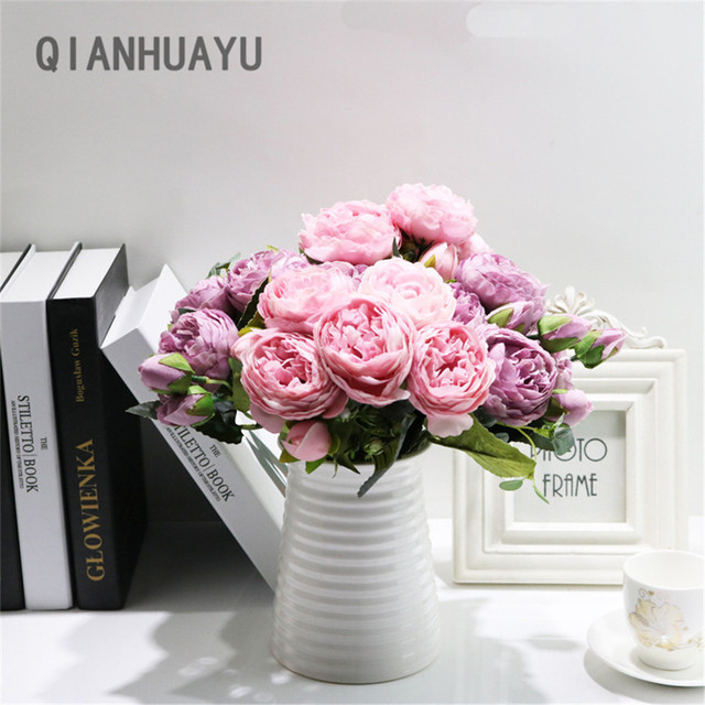 1pcs 30cm Rose Pink Silk Peony Artificial Flowers Bouquet For Valentines Day Gifts DIY Home Wedding Party Decoration Fake Flower 2