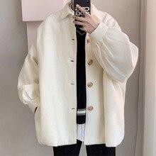 Winter Woolen Coat Men's Fashion Solid Color Casual Woolen Jacket Men Streetwear Wild Loose Mens Overcoat High Quality S-XL