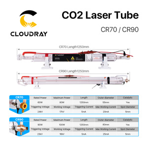 Image 5 - Cloudray 60W 90W CO2 Laser Tube Length 1250mm Dia.55mm 80mm Upgraded Metal Head Glass Pipe for CO2 Laser Machine
