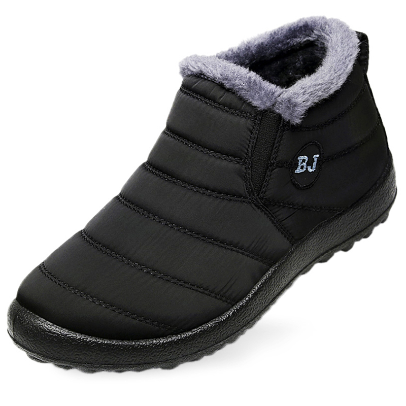 Men Boots Winter Men Shoes Warm Fur Snow Boots Plush Inside Anti Skid Bottom Waterproof  Black Boots Men