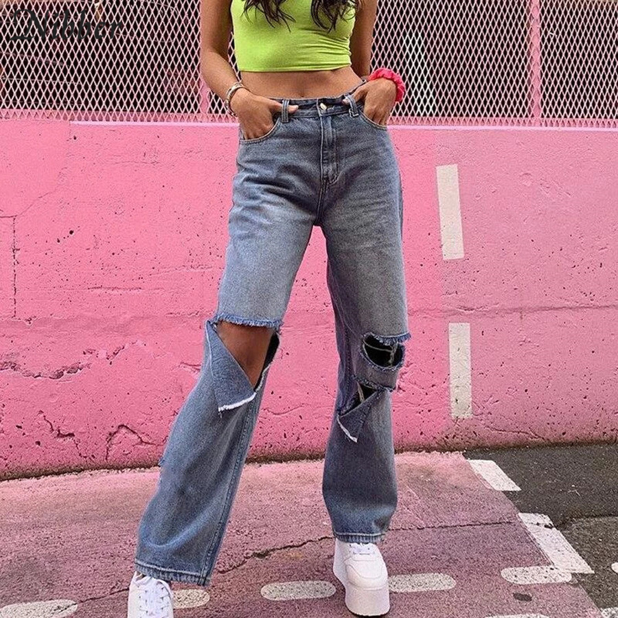 Nibber Autumn Winter Harajuku Hollow Denim Pants Womens 2019 Hot Pure Leisure Loose Slim Flare Pants Mujer Hip Hop Denim Pants