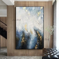 Gold Foil Texture Oil Painting Pure Handmade Canvas Wall Art Abstract Oil Paintings Artwork Canvas Carving For Living Room Decor