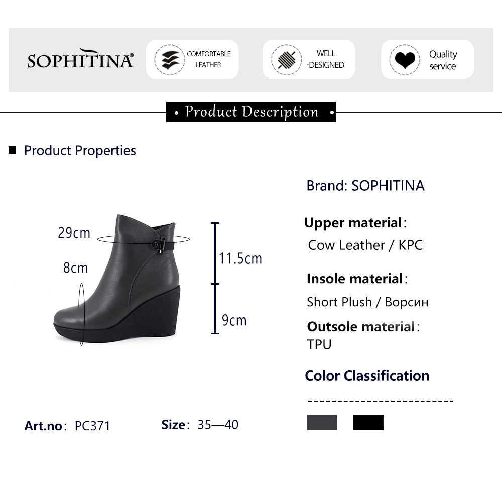 Sophitina Đặc Biệt Thiết Kế Trang Trí Kim Loại Giày Nam Da Thật Cao Cấp Chính Hãng Da Bán Giày Nữ Mũi Tròn Mắt Cá Chân Giày PC371
