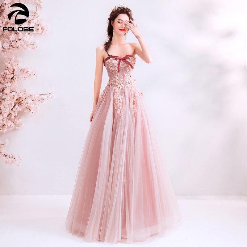 Пыльное розовое Элегантное Длинное платье для выпускного вечера, женское вечернее платье в пол из тюля с цветами и жемчужинами, 2020