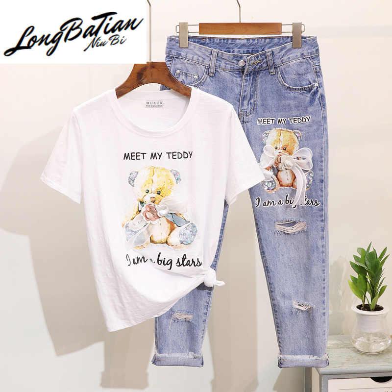 Moda primavera verão 2 peças calças de brim ternos lantejoulas impressão urso dos desenhos animados manga curta t camisa denim calças definir feminino 2 pçs