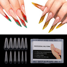 Bng Stiletto Gebeeldhouwde Dual Uitbreiding Formulieren False Tips Poly Nail Gel Systeem Uv Gel Acryl Diy Nail Decoratie Doodskist Art mold