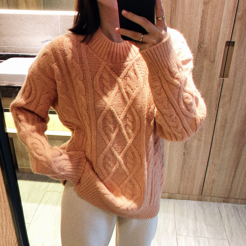 Mooirue Autumn 2019 Female Sweet Sweater Lazy Twist Cable Knitting Slim Jumper Feminino Pink White Tops