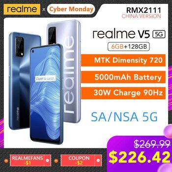 Перейти на Алиэкспресс и купить Realme V5 5G 6 ГБ ОЗУ 128 Гб ПЗУ Helio 720 90 Гц Дисплей 30 Вт флэш-зарядка 5000 мАч 48мп камера Поддержка многоязычного воспроизведения