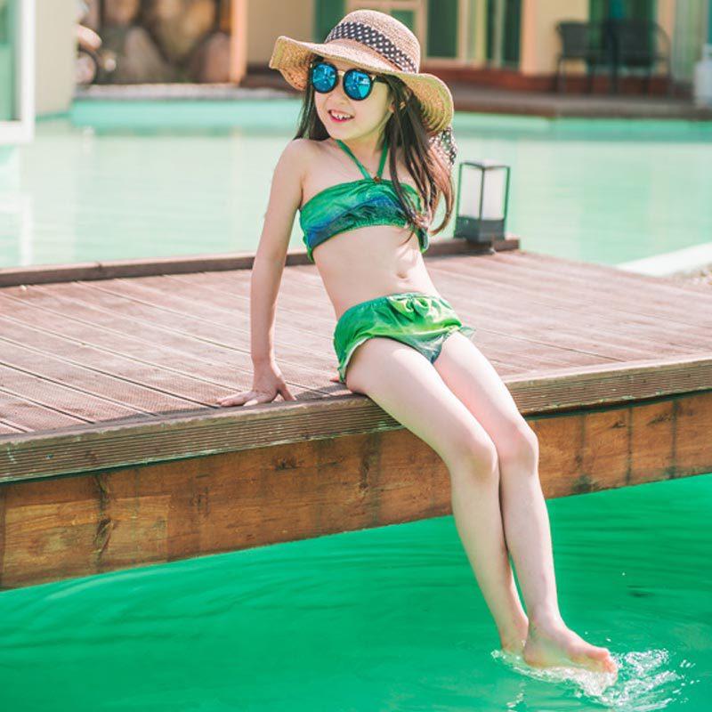 KID'S Swimwear Korean-style New Style Girls Summer Mermaid Three-piece Set Bathing Suit Swimwear Bikini Fashion