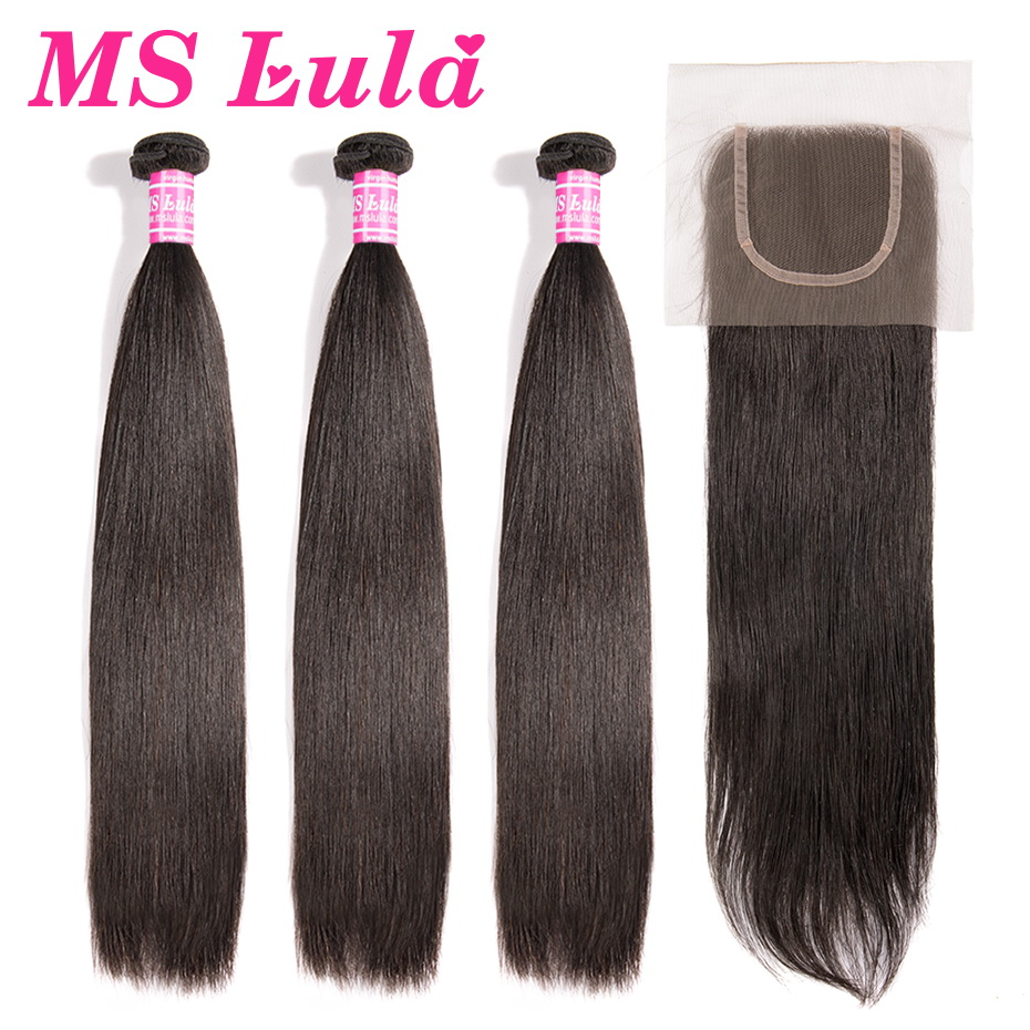 MS Lula Brazilian Hair Straight 3 Bundles With 4x4 Lace Closure Human Remy Hair Long Bundles 30 32 34 36 38 40 Inch Free Part