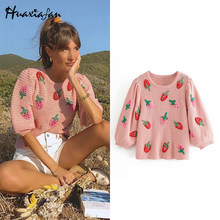 Huaxifan frau pullover Mode Erdbeere Applique Gestrickte Pullover Vintage O Neck Puff Hülse Weibliche Pullover Vingage Chic Tops(China)