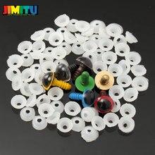 JIMITU 70 Uds 12mm 10mm Mix 7 colores muñecas de plástico ojos de seguridad para DIY Oso De peluche, muñeco Animal títere artesanal caja con arandelas