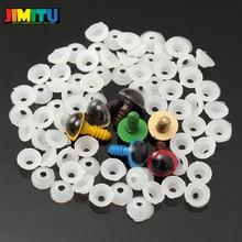 JIMITU 70 adet 12mm 10mm Mix 7 renkler plastik bebekler gözler için güvenlik gözler DIY oyuncak ayı bebek hayvan kukla el sanatları kutusu yıkayıcılar