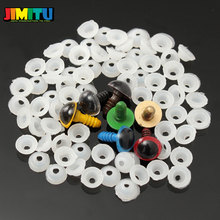JIMITU 70 sztuk 12mm 10mm Mix 7 kolory plastikowe lalki oczy bezpieczeństwa oczy dla majsterkowiczów Teddy lalka miś kukiełka zwierzątko pudełko rzemieślnicze z podkładkami