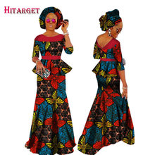 Autumn African Woman Clothing 2 Piece Sets Dashiki Wax Print Cotton Ruffle Crop and Skirt & Head Tie Clothes WY1630