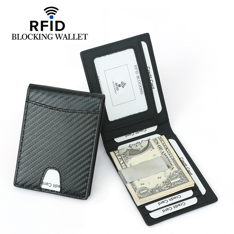 RFID Blocking Wallet For Men Carbon Fiber Wallet With ID Window Slim Bifold Front Pocket Wallet With Money Clip