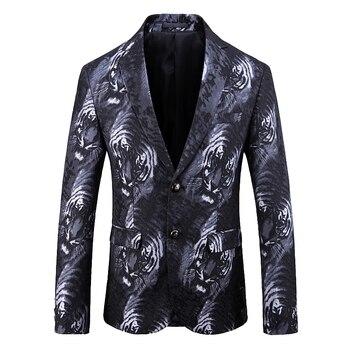 Blazers Men's Tiger print cross-border e-commerce suit dress D219-1937-P195