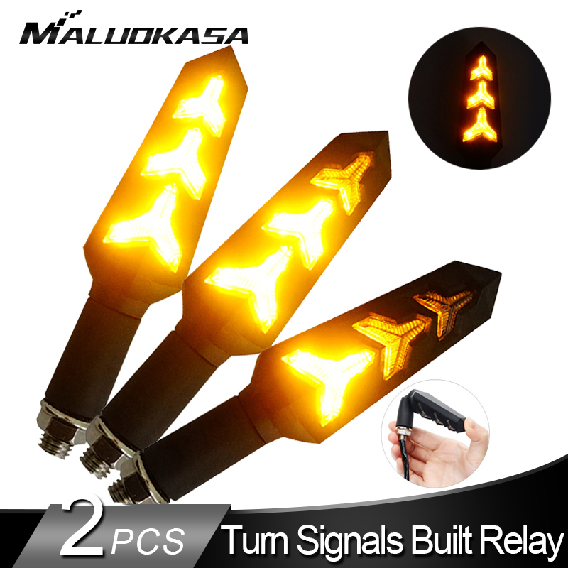 2PCS Motorcycle LED Turn Signals Flowing Water Blinker Flashing Lights Built Relay Bendable Auto Tail Flasher Indicator Lamp