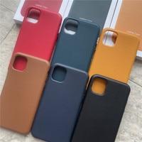 Funda de cuero genuino para iPhone, carcasa Original de lujo con caja para teléfono iPhone 12 Pro Max 11 Pro Max 12 Mini