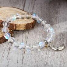 Pulseira feminina artesanal de 8mm, pedra da lua, miçangas, fio elástico, stato e lua, charme, presente, drop shipping