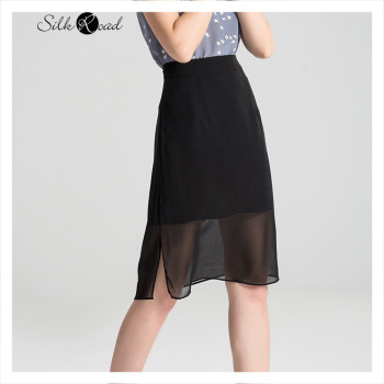 Silviye Silk skirt double layer high waist split one step skirt short skirt black all over mulberry silk skirt self belt ruffle waist high split skirt