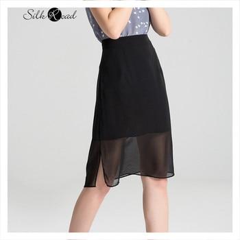 цена на Silviye Silk skirt double layer high waist split one step skirt short skirt black all over mulberry silk skirt