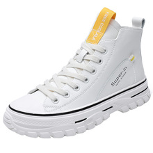 High-top white shoes thick bottom net red thin summer models breathable ladies hip-hop flat bottom high-top women's shoes tide