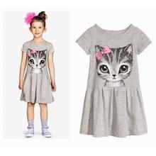 цены на Girls Dresses Summer 2019 Cotton Frocks Girl Child Animal Print Kids Dresses Solid Girl Child Girls Clothing  Children's Dress  в интернет-магазинах