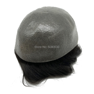Image 4 - Toupee Hair Wigs for Men Skin PU base 100% remy Human Hair Replacement Toupees