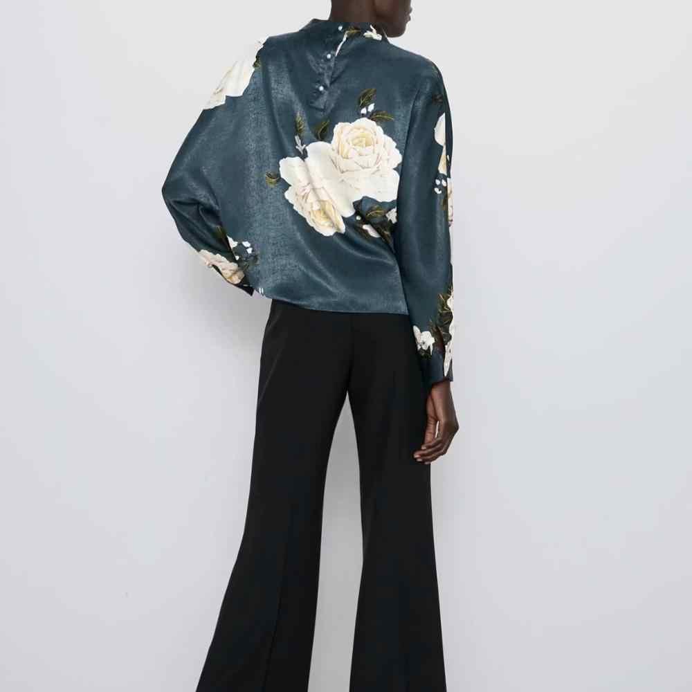 ZA 블라우스 셔츠 여성 플로랄 패턴 인쇄 탑스 블루 쉬폰 백 버클 캐주얼 여성용 블라우스 여성 여성 의류