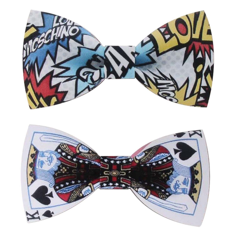 2Pcs Fashion Graffiti Painting Wood Elegant Gentleman Bow Ties Wedding Bow Ties Wooden Unique Tie For Man Letter & Poker