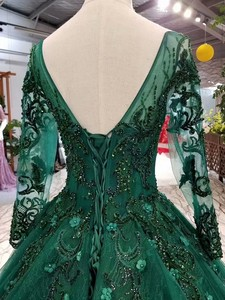 Image 5 - 2019 Korean Style Scoop Neck Matta Satin Full Sleeves A Line Green Wedding Dresses Lace Up Back With Beadings 3D Flower