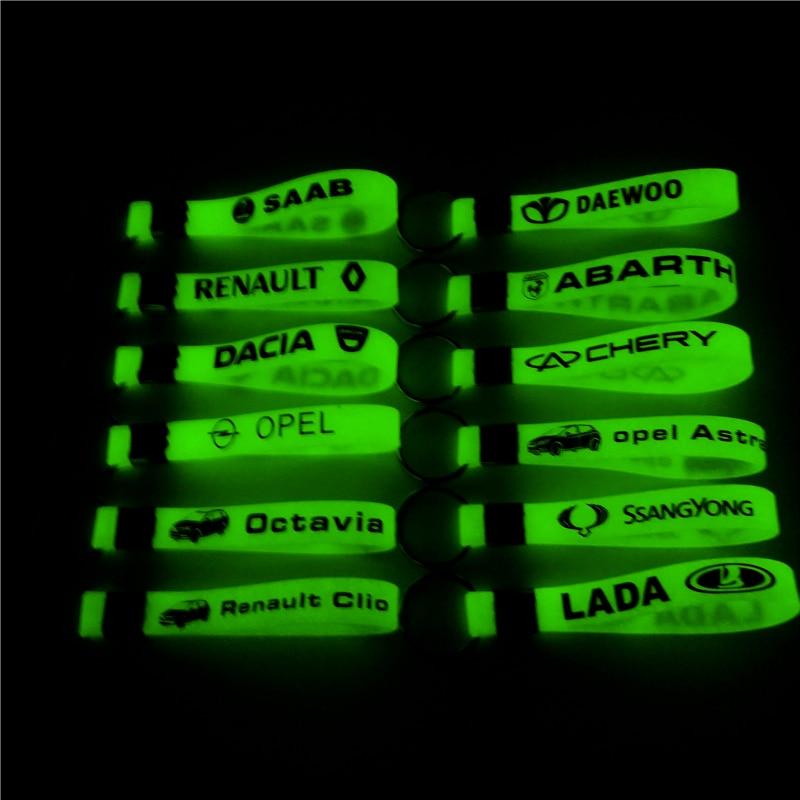 Luminous Silicone Car Sticker Key Ring For Toyota Corolla Camry Hyundai Bmw Audi Opel Mazda Skoda Dacia Opel Nissan Honda Fiat