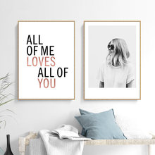 All Of Me Loves All Of You Love Quotes Canvas Painting Black White Girl Home Decoration Modern Art Poster Wall Picture cheap Bao Pavilion Canvas Printings Single Waterproof Ink Figure Painting Unframed Y-3059 Spray Painting Vertical Rectangle Canvas Prints