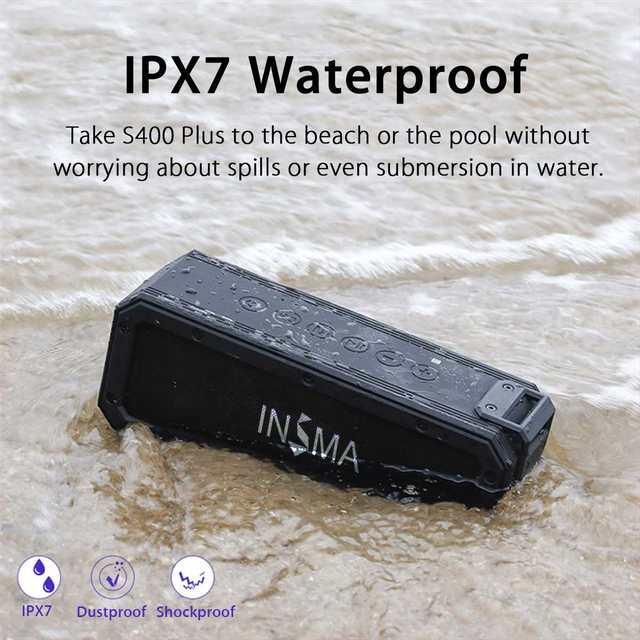 INSMA S400 PLUS 40W bluetooth Speaker NFC Portable Speakers IPX7 Waterproof Subwoofer Outdoor TWS Boombox Wireless Loudspeakers 3