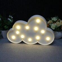 BRELONG 3D облака теплый белый украшение ночной Светильник для детской комнаты рождественское свадебное 3V