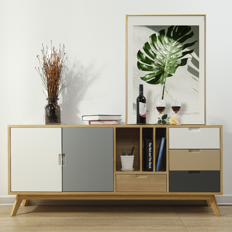 Solid Wood TV Cabinet Scandinavian Minimalist Modern Cabinet Small Apartment Living Room Combination Outfit Audio Cabinet Manufa