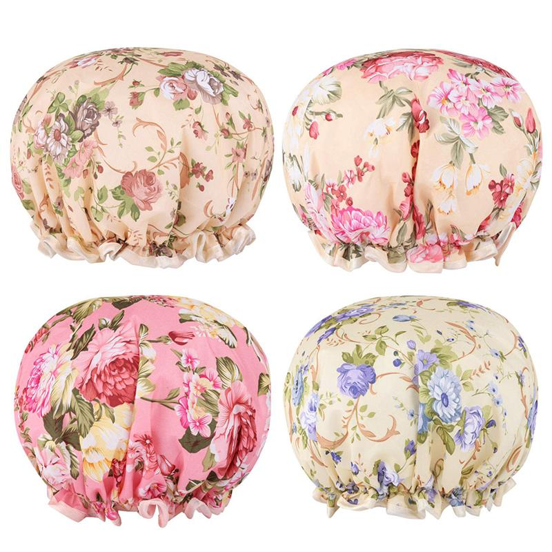 4PCS Printed Hair Caps Double-layer Bathing Caps Waterproof Shower Caps Hair Styling Protector For Home Shop