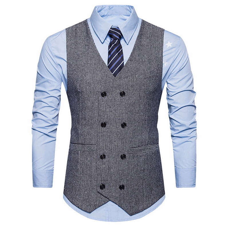 MJARTORIA 2019 New Suit Vest Men Jacket Sleeveless Business Vintage Tweed Vest Fashion Spring Autumn Plus Size Soild Waistcoat