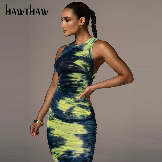 Hawthaw Women Autumn Summer Sleeveless Printed Bodycon Pleated Slim Package Hip Dress Sundress 2021 Female Clothing Streetwear 1